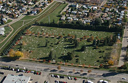 Aerial view of the Wetaskiwin Cemetery