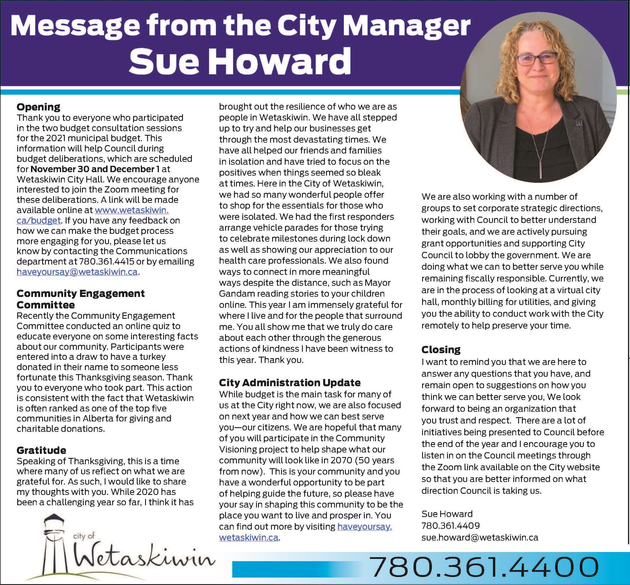 Message from the City Manager - Oct.15.2020 - cropped